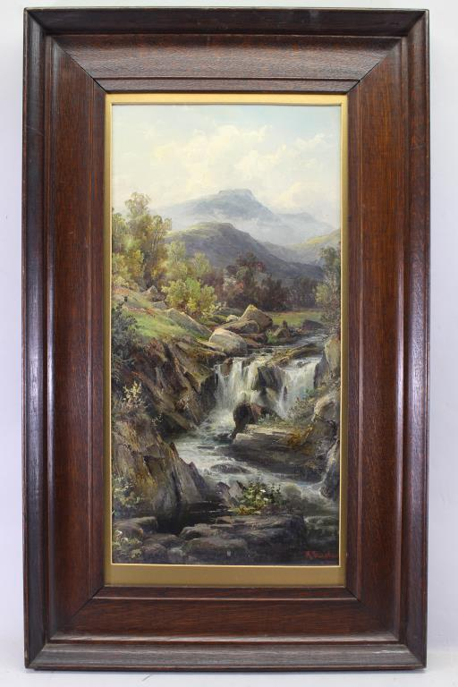Signed Sinclair, Forest Waterfall. 19th C.
