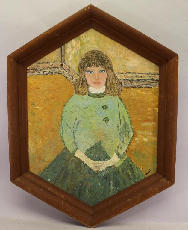 Early 20th C. Painting of a Young Blue Eyed Girl