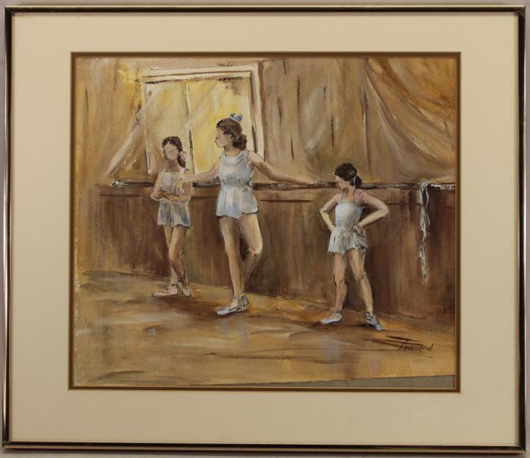 Signed, American School Painting of Ballerinas