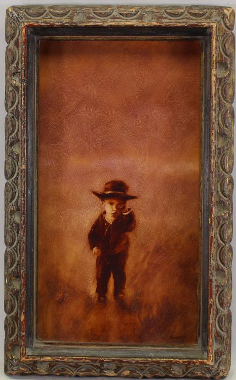 Signed, 20th C. Painting of Young Boy in a Field