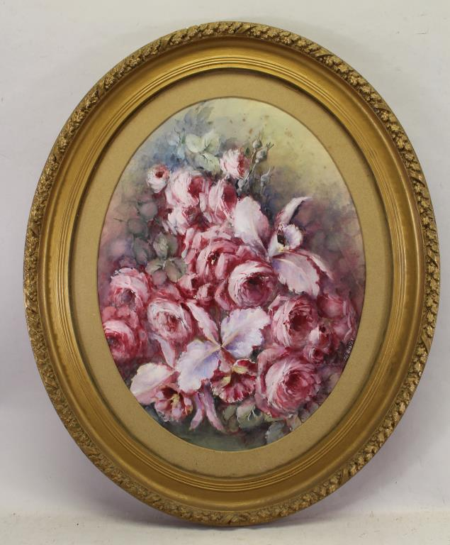 Signed, American School Oval Painting of Flowers