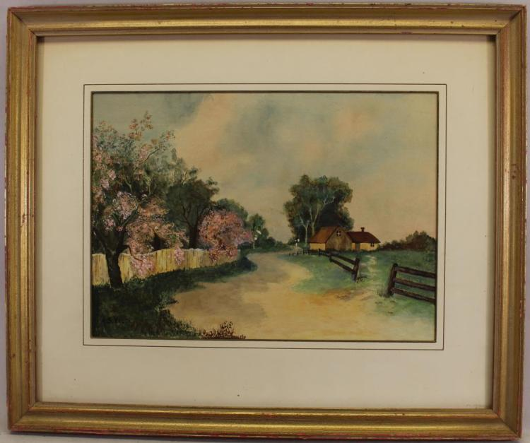 Signed 20th C. Watercolor of a Village Lane