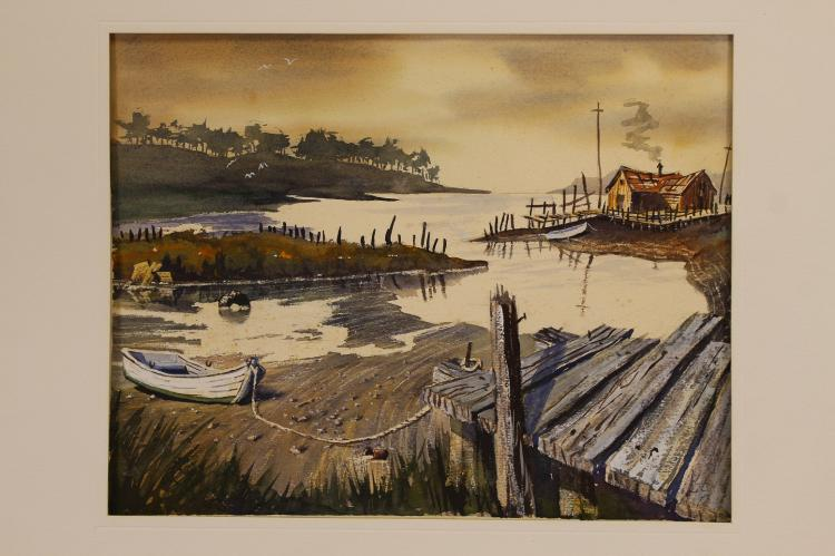 American School Watercolor of an Inlet