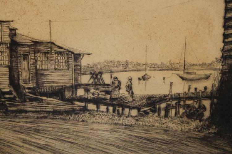 Signed etching norwalk connecticut harbor for Chinese furniture norwalk ct