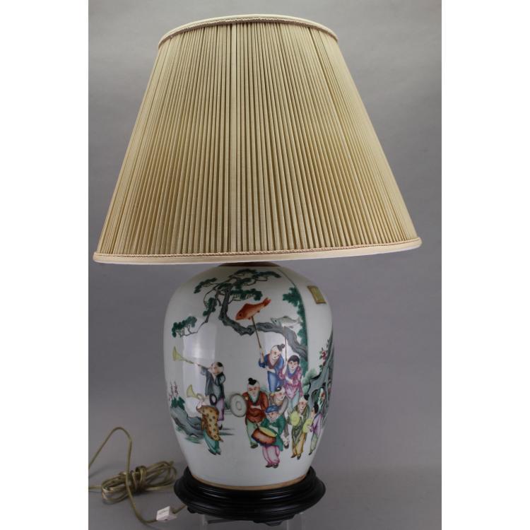Antique chinese porcelain vase form lamp w poem for Lamp light poem