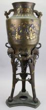 Exceptional Meiji Period Bronze/Gold Inlaid Censer