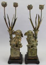 Early Antique Chinese Food Dog Statues on Stand