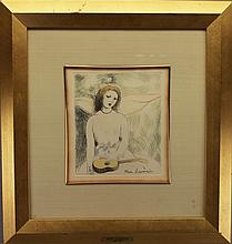Marie Laurencin (1883 - 1956) Colored Etching