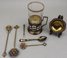 (7) Russian Enameled Serving Pieces
