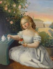 19th C. American School Portrait of a Young Girl