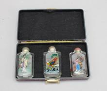 (3) Reverse Painted Snuff Bottles w/ Case
