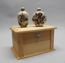(2) Enameled Signed Snuff Bottles w/ Case