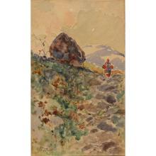 """MICHELE CATTI (1855-1914) """"Paesaggio montano con contadina sullo sfondo"""" - """"Mountain landscape with peasant woman in the background"""""""