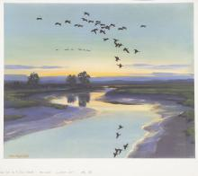 PETER SCOTT - Low Tide on a Still Evening - and Geese