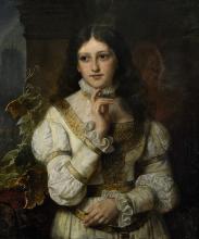 Porträt eines jungen Mädchens in Renaissancekleidung