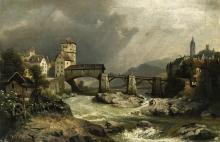 Städtchen am Fluss mit Holzbrücke