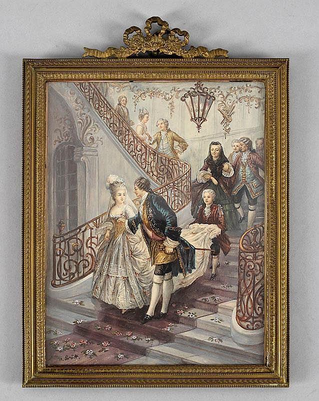 GROßE MINIATUR Darstellung eines Hochzeitspaares