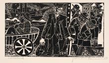 """Hermann Naumann, Illustration zu Scholem Alejchem """"Menachem Mendel"""" und vier weitere Illustrationen. 1964/ wohl 1969."""