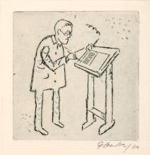 """Herbert Sandberg, Brecht am Pult / Neujahrsgruss 1964 / Neujahrsgruss 1974/75 / """"Den Bankert"""". 1960er/ 1970 s."""