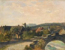 Bernhard Mühlig, Dorf mit Steinbrücke in der Sächsischen Schweiz. Um 1900.