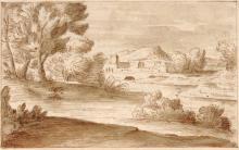 Giovanni Francesco Grimaldi (zugeschr.)., Italienische Flusslandschaft mit einer Stadt in der Ferne. Wohl Mitte 17th cent.