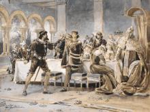 Ernst Albert Fischer-Cörlin, Fehde an der Tafel des venezianischen Dogen. Wohl um 1890– 1900.