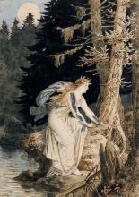 Victor Paul Mohn, Fee am bewaldeten Bachlauf im Mondlicht. 1885.
