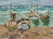 """Alfred Teichmann """"Spanische Fischer mit ihren Booten"""". Wohl um 1950."""