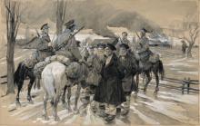 Otto Gerlach, Kriegsszene am Dorfrand. 2nd half 19th cent.