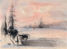Siegfried Berndt, Morgenstimmung in einem schottischen Hafen / Alpenlandschaft. Um 1907/ 1928.