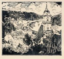 Siegfried Berndt, Blick auf Königstein, Sächsische Schweiz. Wohl um 1920.