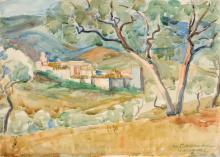 """Alfred Teichmann, Mediterrane Landschaft (Varopea?) / """"Spanisches Gebirgsdorf auf Mallorca"""" (Valldemossa oder Deja). 1932."""