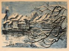 "Alfred Teichmann ""Rheinfelden im Winter"" / ""Rothenburg o.T."". 1971 / wohl 1930''s."