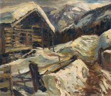 Michael Mathias Kiefer, Almhütte im Winter. 1929.