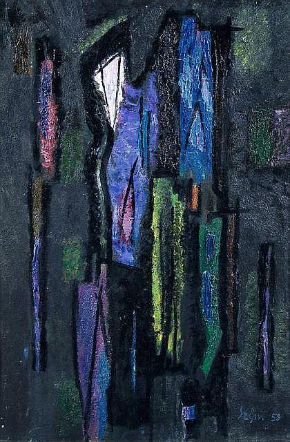 Hans Szym, Komposition in Violett und Blau. 1958.