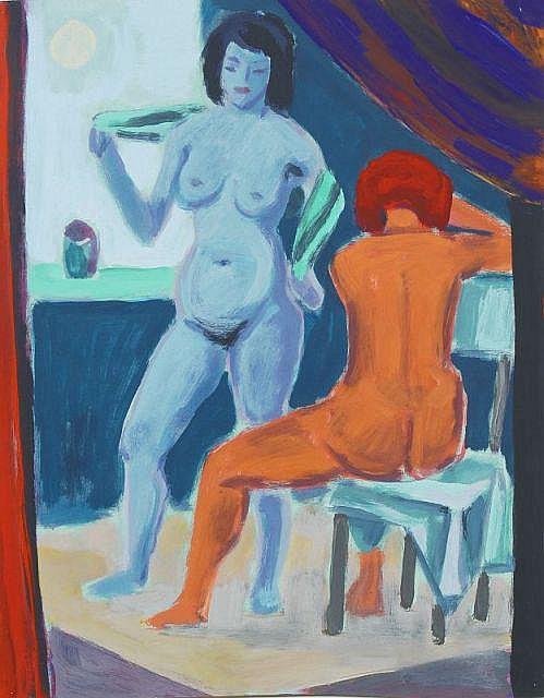 Max Lachnit, Stehender und sitzender weiblicher Akt. Um 1946.