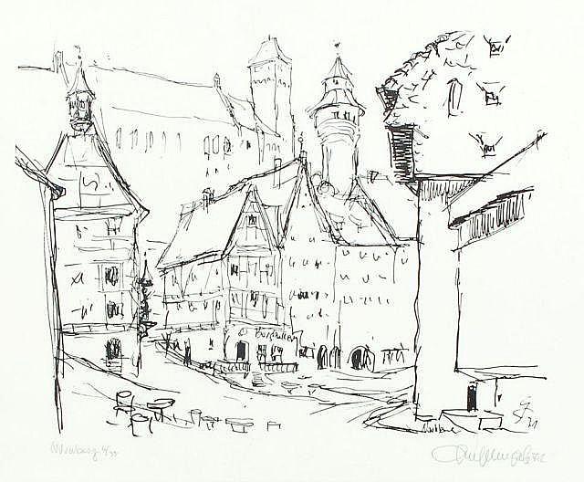 Gerhard Stengel, Blumenstilleben/ Blick auf Dresden/ drei Ansichten von Hamburg, Bremen und Nürnberg. 1951- 1979.