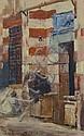 Max Rabes, Lesender vor einem Haus. Cairo. 1889.