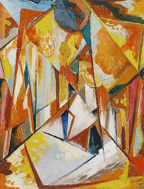 Erhard Hippold, Abstrakte Komposition in Orange. No date.