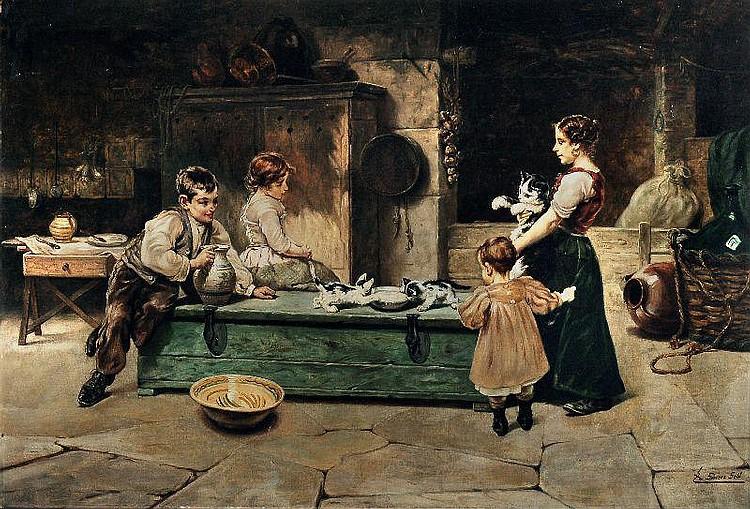 Eduardo Sánchez Solá, Fütterung der Kätzchen. No date.