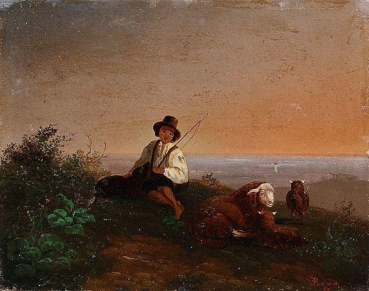 Ernst Heinrich Richard, Schäfer mit seiner Herde in der Abenddämmerung. 1850.