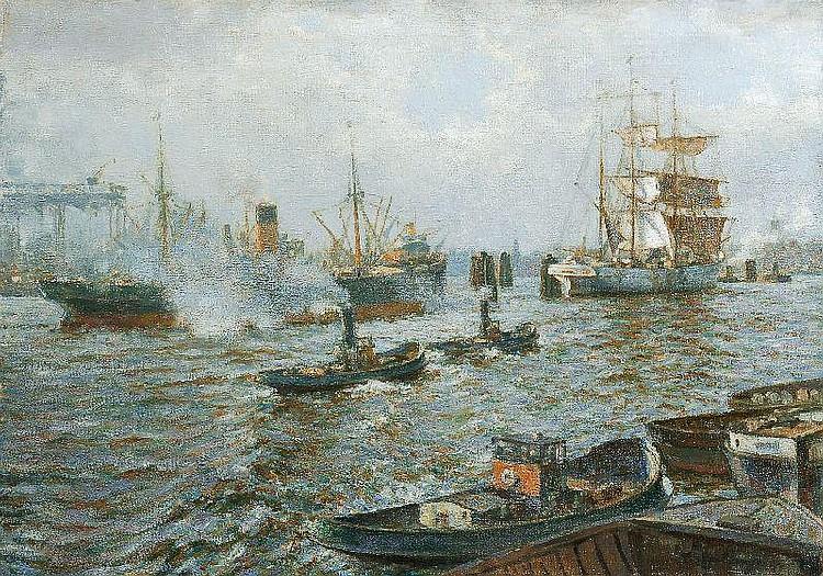 Ludwig Muhrmann, Hamburger Hafen. 1st half 20th cent.