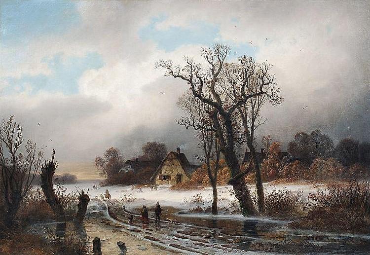 Gustav Lange, Winterlandschaft mit Figurenstaffage. Mid 19th cent.