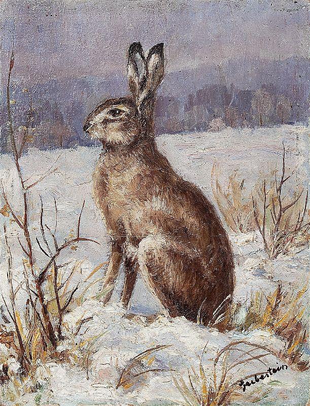 Ferdinand Grebestein, Feldhase im Winter. Wohl No date.