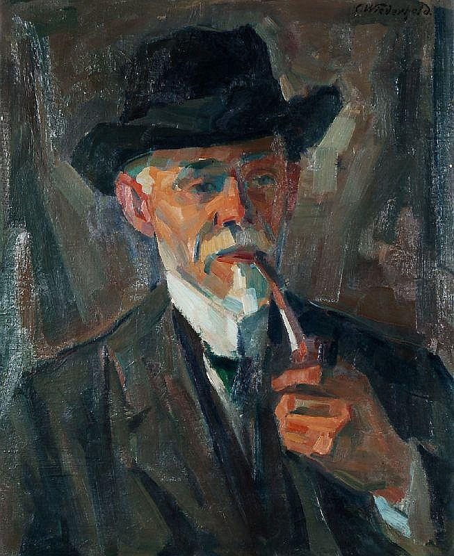 Carl Wiederhold, Brustbild eines Pfeife rauchenden Mannes mit Hut. Um 1910.