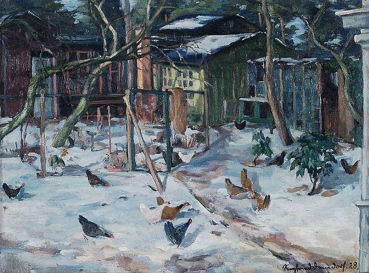 Siegfried Donndorf, Hühner im Schnee. 1928.