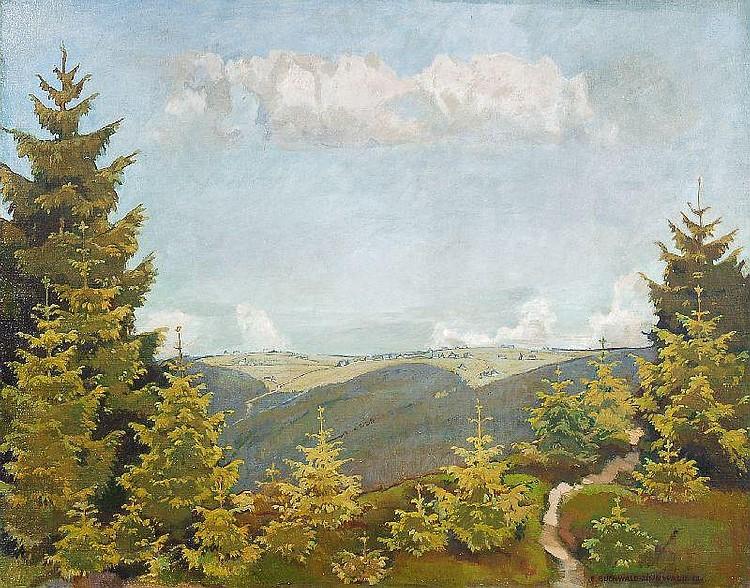 Erich Buchwald-Zinnwald, Blick auf Zinnwald im Frühling. 1938.