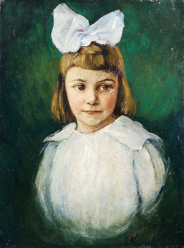 Johannes Beutner, Mädchen mit weißer Schleife. Um 1920.