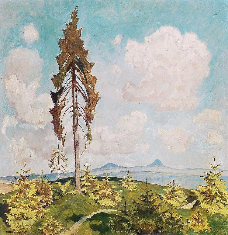 Erich Buchwald-Zinnwald, Blick auf den Milleschauer. 1947.