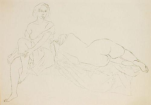 Fritz Cremer, Zwei weibliche Akte. 1960.Lithograph
